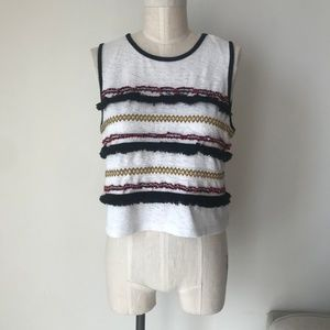 Topshop Embroidered Print White Top